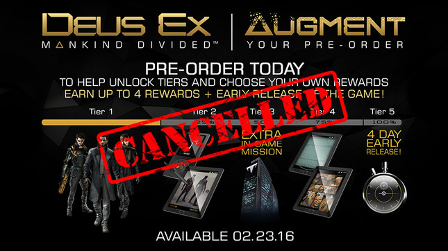 Deus Ex: MD's confusing preorder program canned